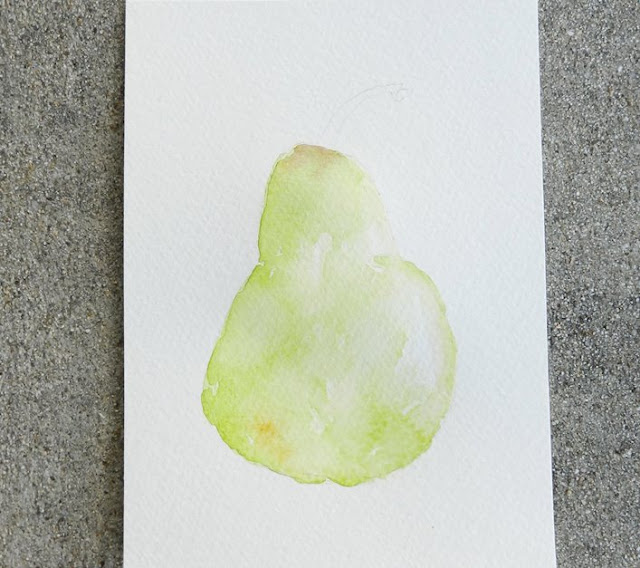 How to paint a watercolor pear