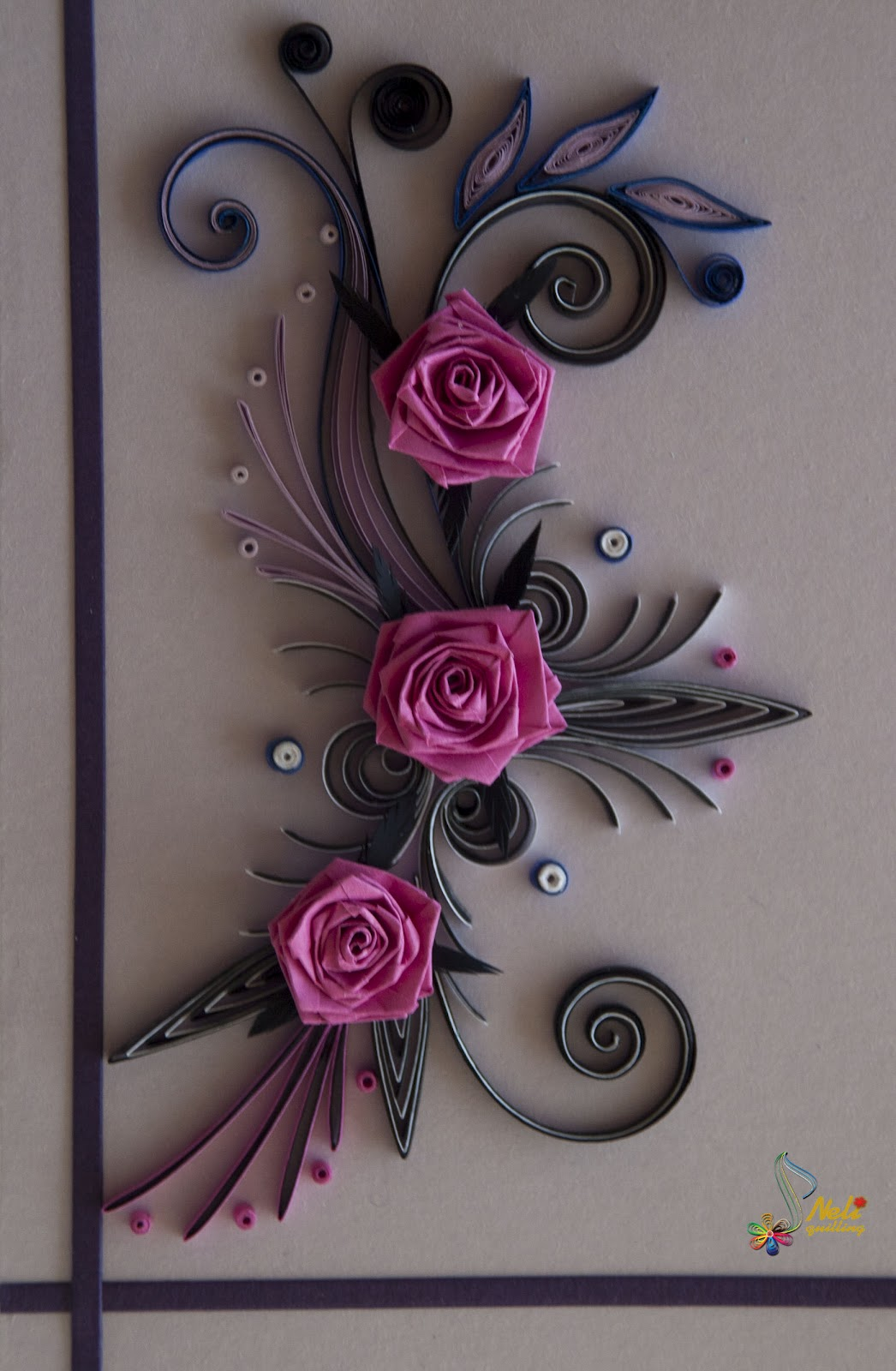 Neli quilling art quilling cards roses for Quilling paper art
