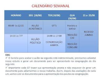 PROGRAMAÇÃO DA GREVE DOS ALUNOS DE FARMÁCIA DE 18. a 25.6