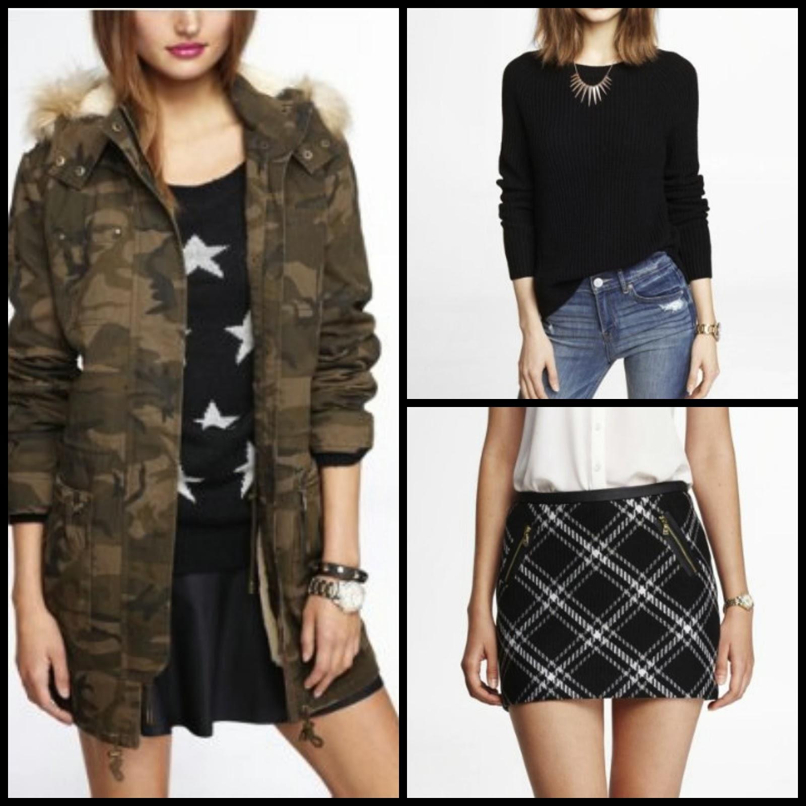 camouflage parka, tartan plaid mini skirt, side slit shaker sweater