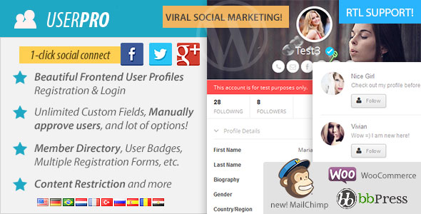 UserPro V2.46 CodeCanyon User Profiles with Social Login