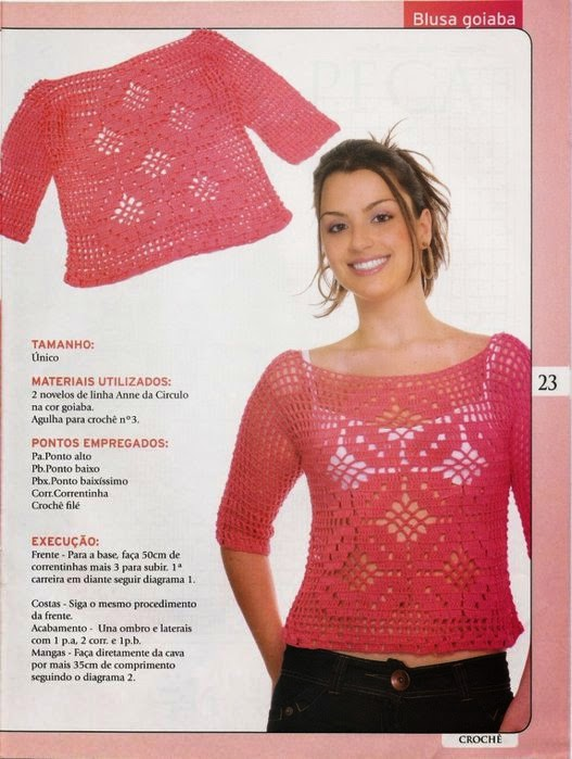 Diagramas crochet de blusa de dama
