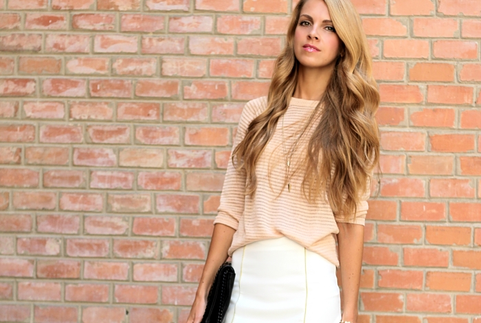 pastel outfit, street style, neutral colors, Mango sweater, blond long hair