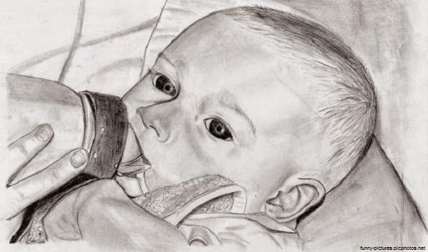Dessin bébé chou noir et blanc