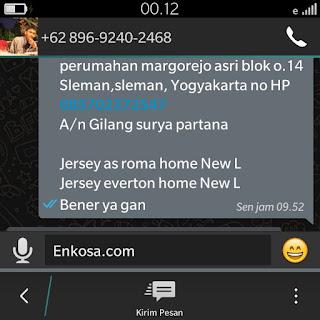 Konfirmasi alamat lengkap dan pesanan jersey Gilang Surya Partana oleh enkosa sport