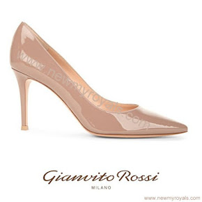 Sophie Countess of Wessex Style GIANVITO ROSSI Bari 85 patent leather court shoes
