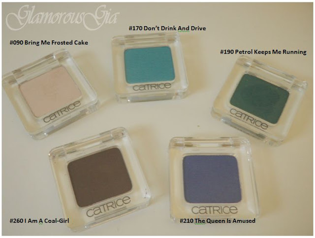 REVIEW: Catrice Eyeshadows bring me frosted cake, dont's drink and drive, petrol keeps me running, I am a coal-girl and the queen is amused.
