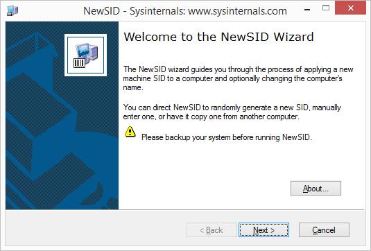 Herramienta NewSID de SysInternals