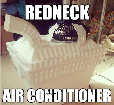 Redneck air conditioner mad out of a Styrofoam cooler full of ice with a fan and a rain downspout elbow