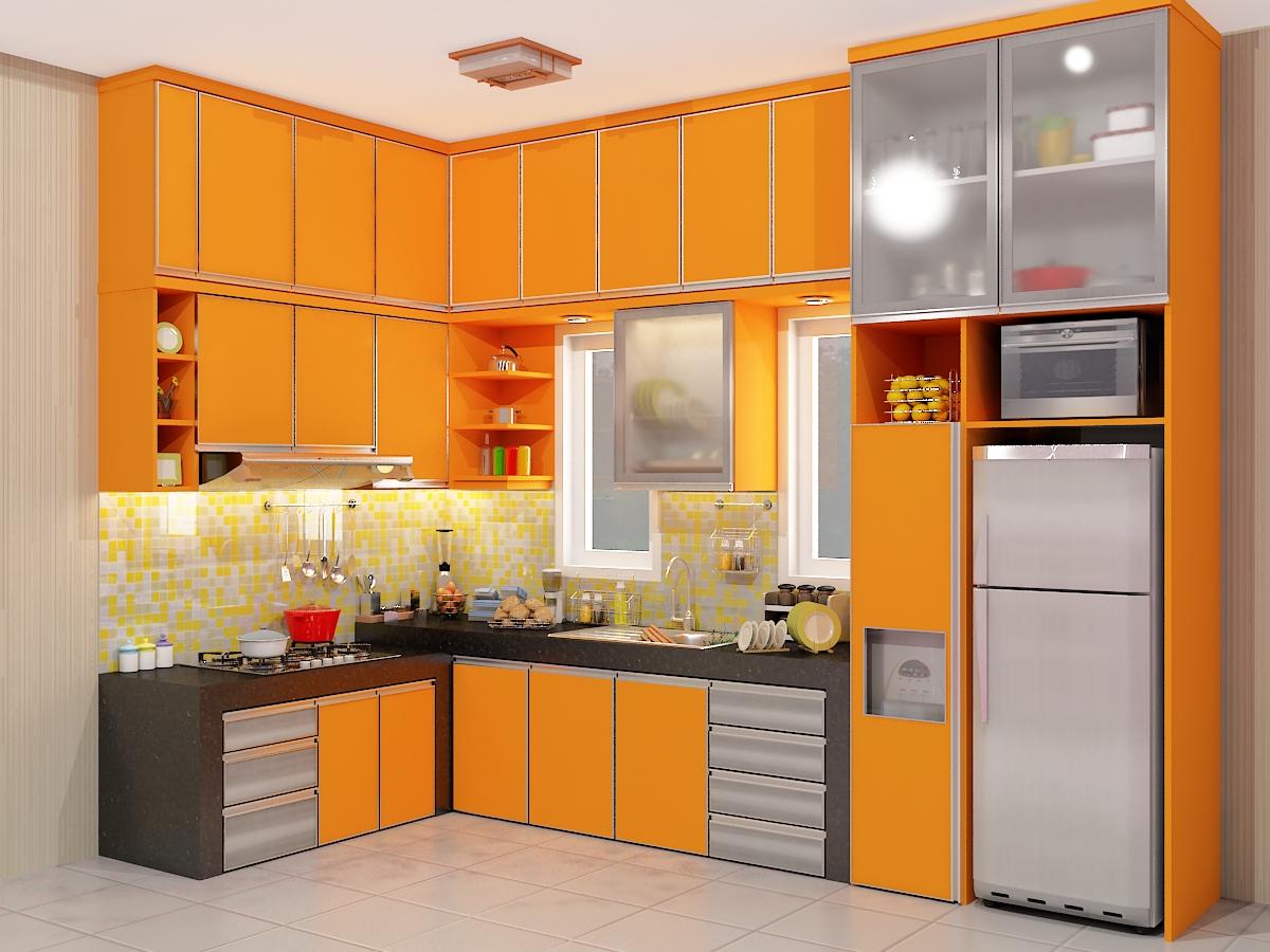 Modern kitchen sets for Kitchen set orange