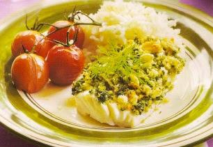 Receta Bacalao con tomates y arroz
