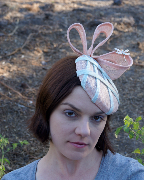 After photo of pink sinamay refashioned hat
