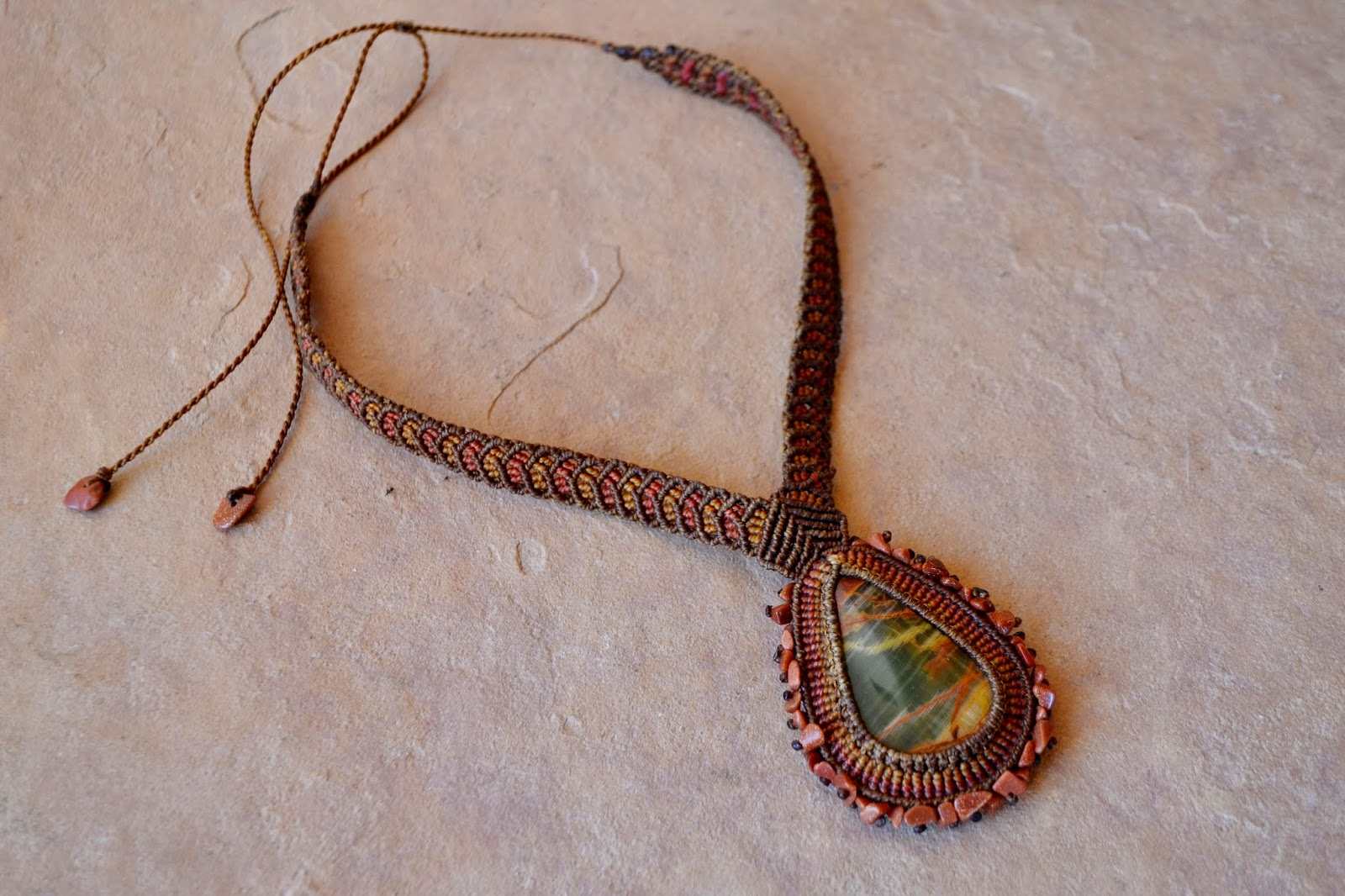 Copper Onyx Stone Macrame Necklace Micromacrame