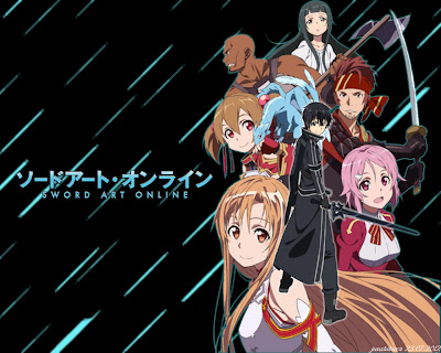 A piece of promotional art that showcases some of the main characters from the early episodes.