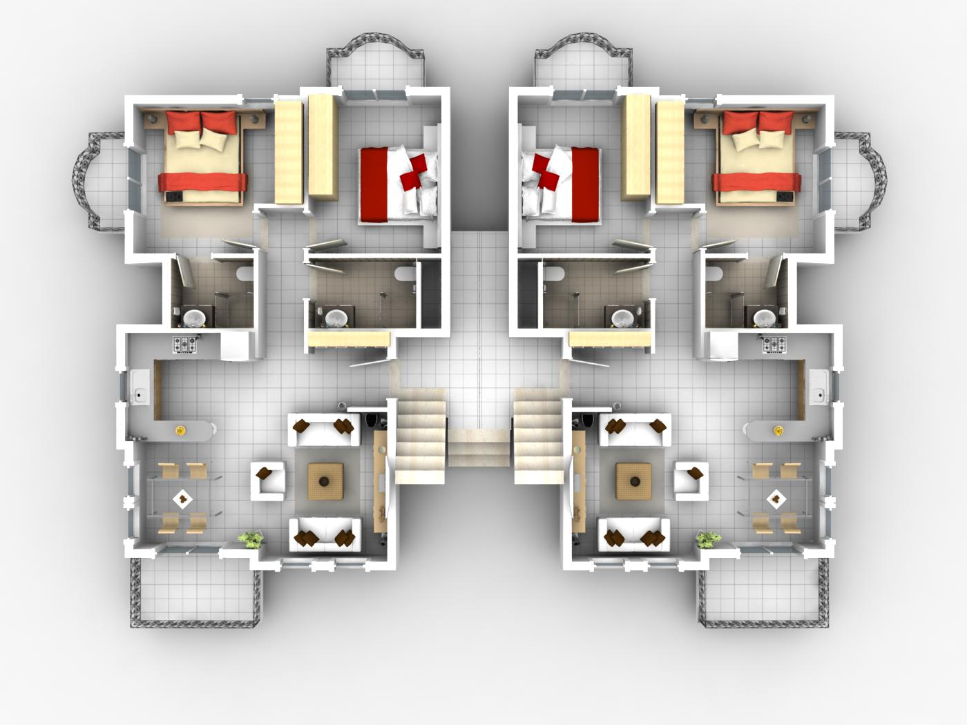 3 bedroom european apartment floor plans bedroom House plan software