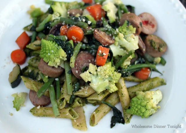 Wholesome Dinner Tonight: Spring Vegetable Saute with Pesto Pasta and ...