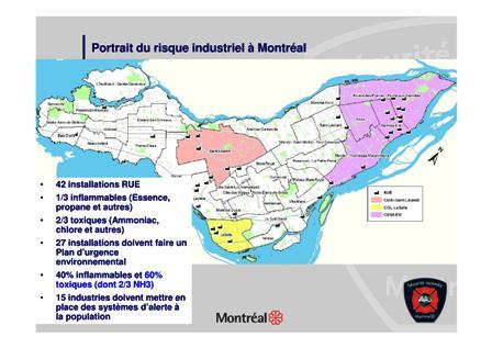 Le risque industriel à Montréal - à L'EST, grosse concentration de matières dangereuses !