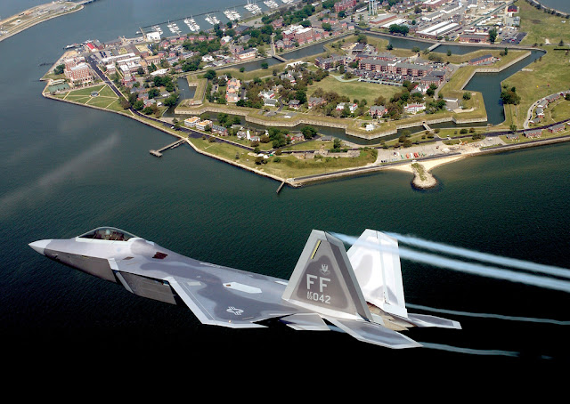 f-22 flight in city