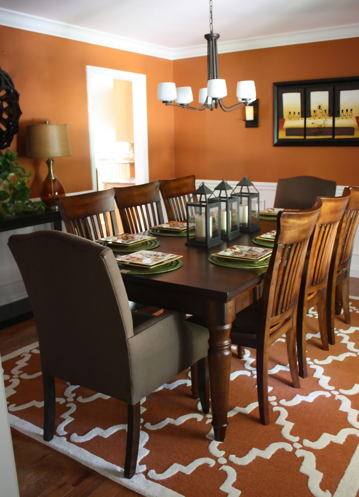 Her Room Already Had Great Bones. A Spicy Orange Wall Color, Picture Frame  Molding, And A Beautiful Dining Table. The Elements We Added To The Space  Were A ... Part 88