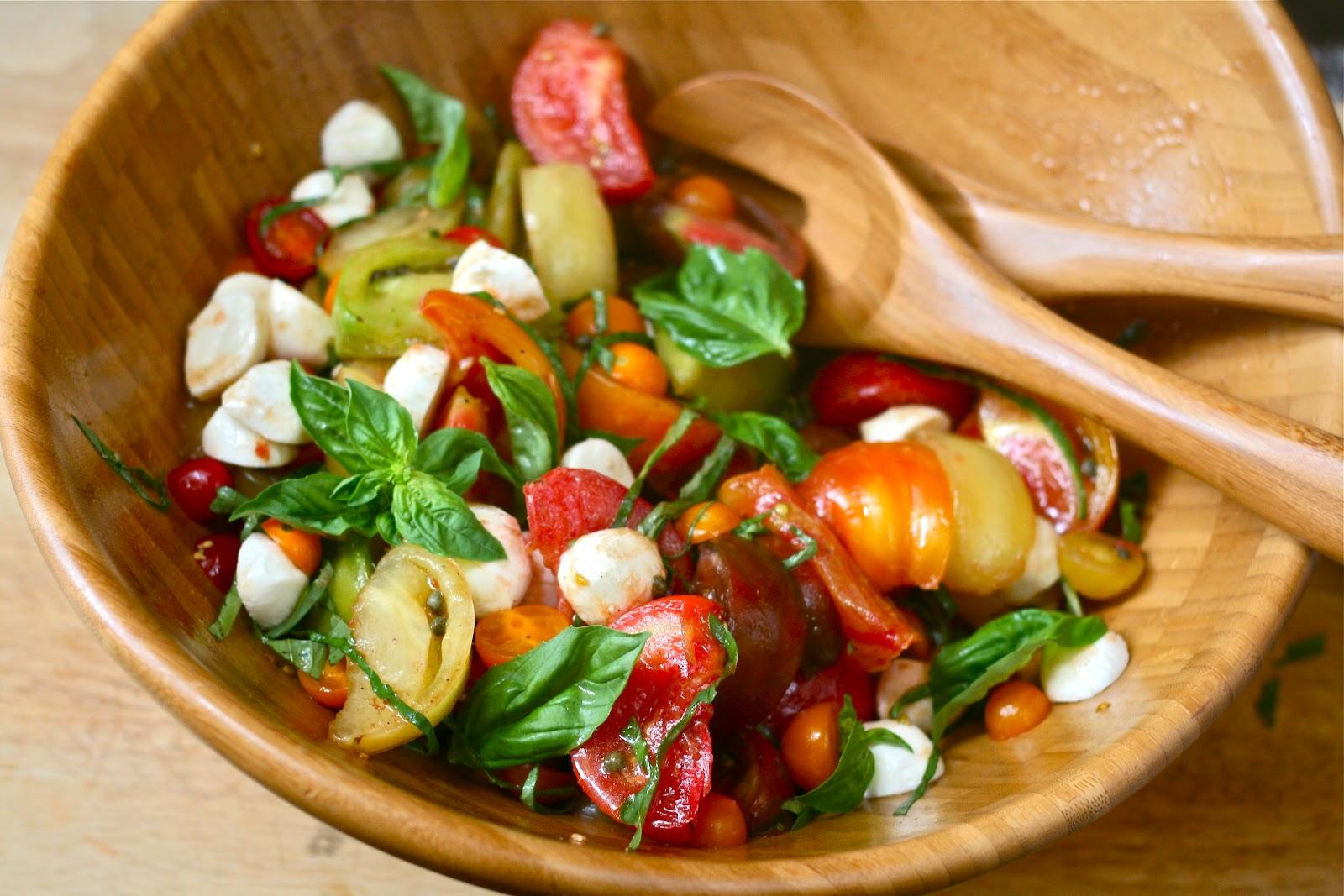 Heirloom Tomato Salad with Basil, Capers & Mozzarella
