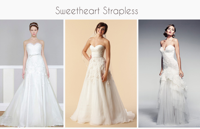 Sweetheart strapless wedding gowns and dresses