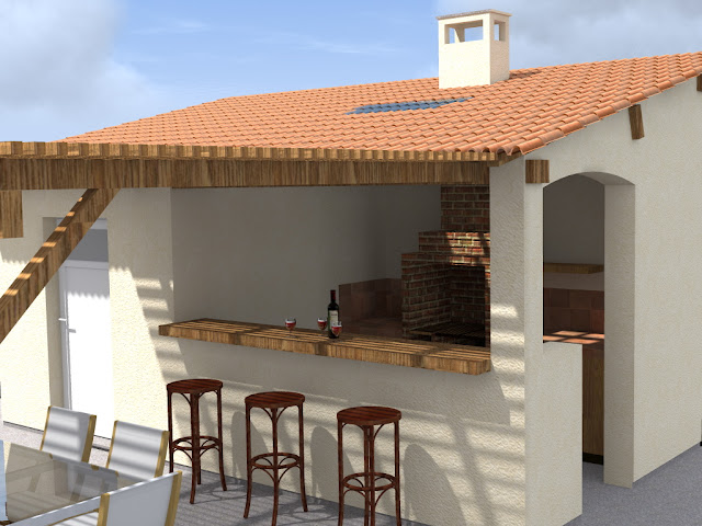 Pool house cuisine d 39 t local piscine - Construction cuisine d ete exterieure ...