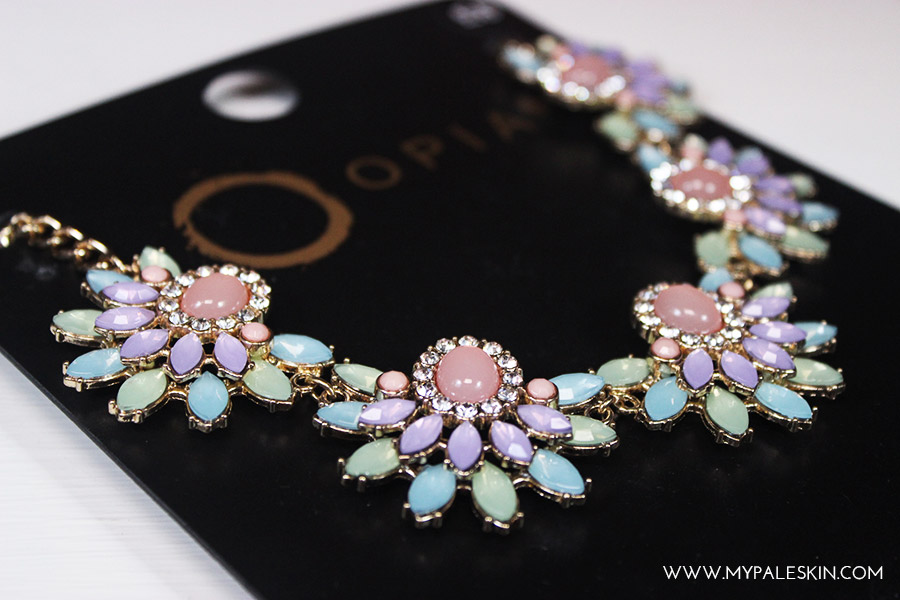 primark statement necklace, flowers, crystals