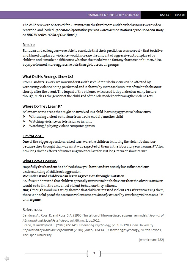dse141 tma01 Since my last post, i've submitted tma01 for discovering psychology,  dse141 discovering psychology dd131 introducing the social sciences part 1.