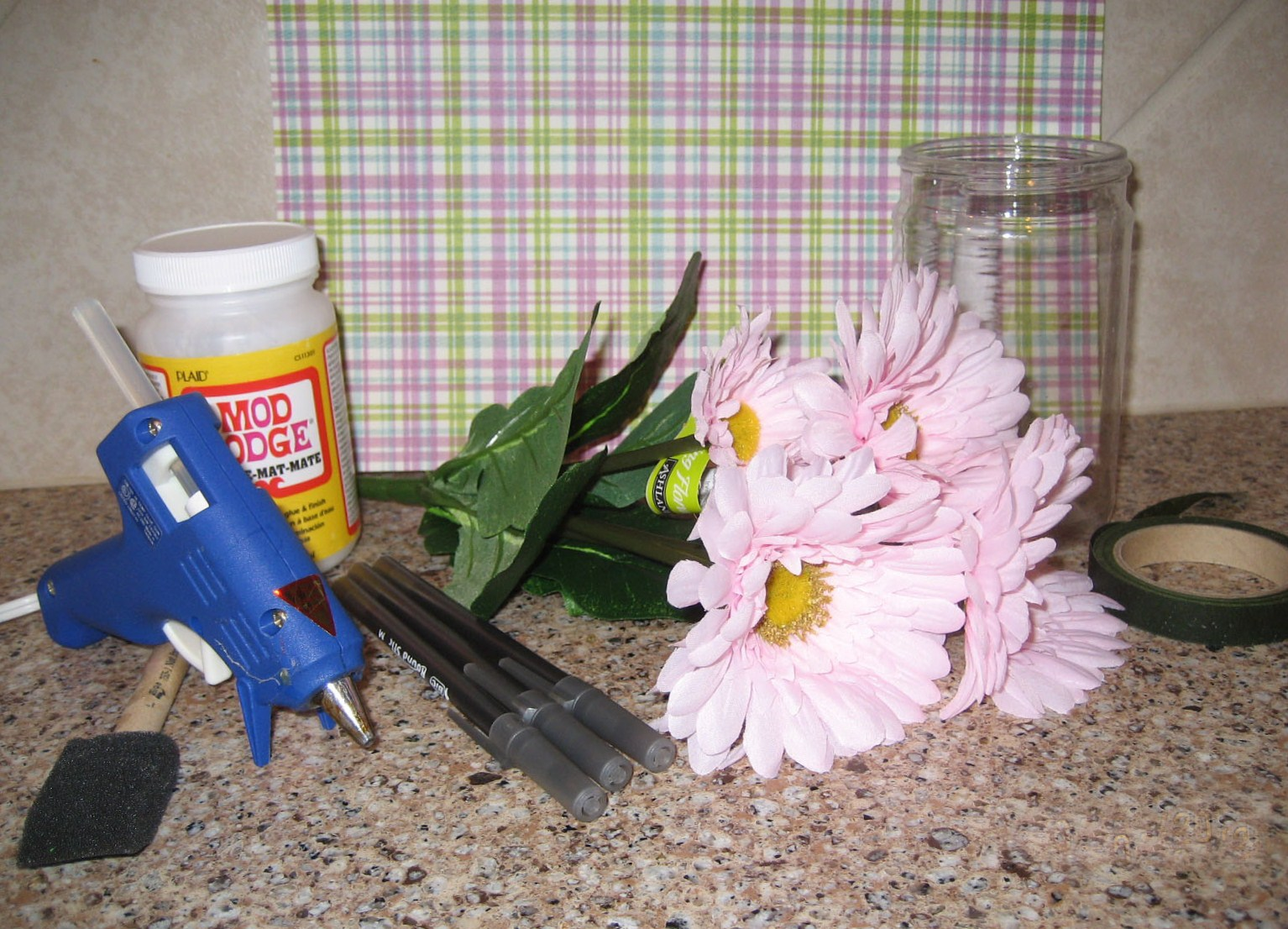 how to make flower pens with tape