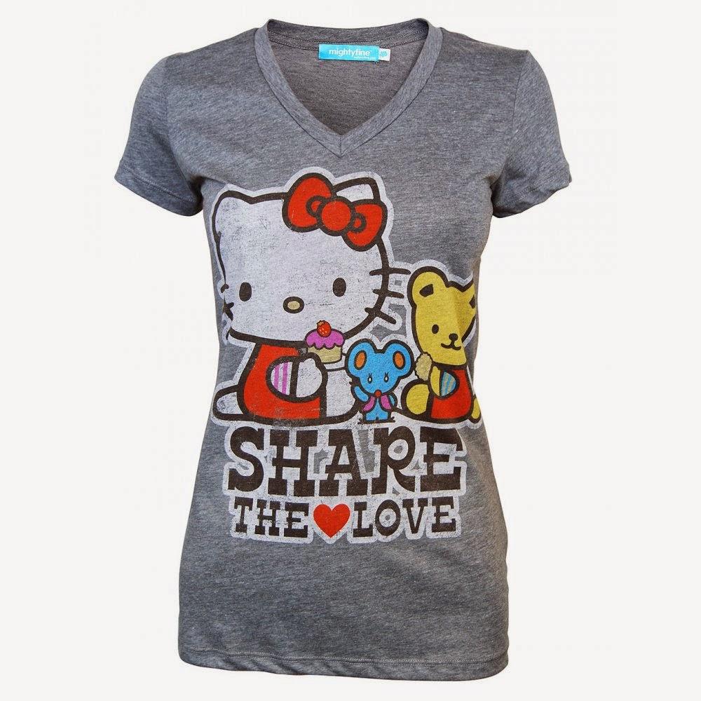 Gambar Baju Hello Kitty Kaos Warna Abu-Abu Lucu Unik