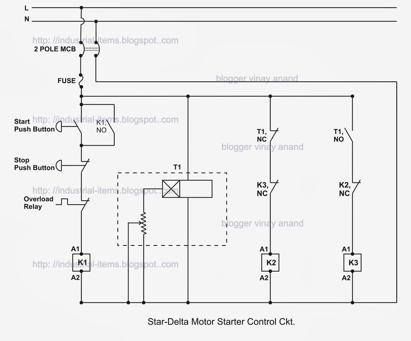 Star delta motor starter circuit for 3 phase motor starter circuit