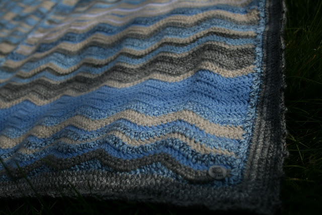 Concept crochet Sky Blanket using Attic 24s Ripple Pattern and Shrinkie Dink Buttons by fabricandflowers | Sonia Spence
