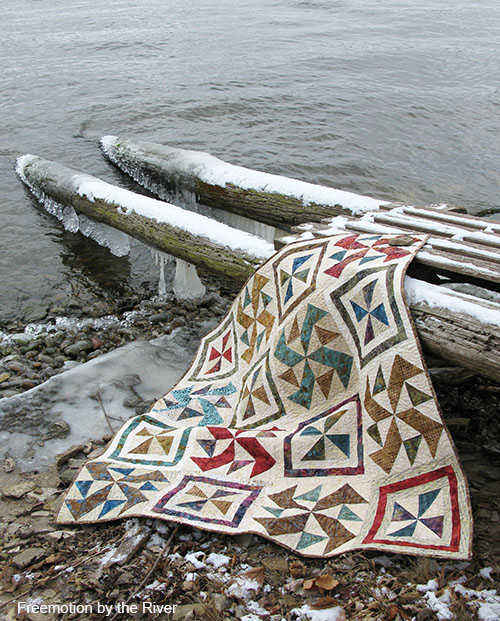 Ice and a Quilt along the Mississippi river at Freemotion by the River