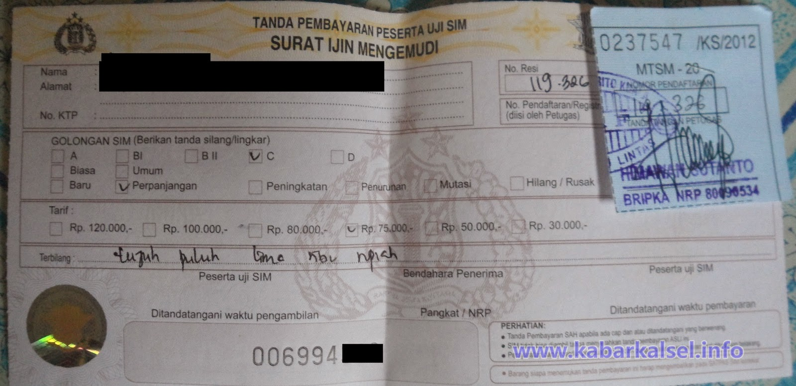 biaya pembuatan sim di Polres Batola, Marabahan