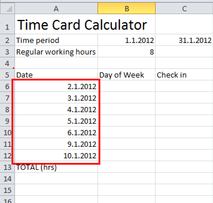 time card calculator excel tutorial insert dates