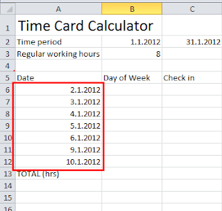 Time card calculator Excel tutorial - insert dates