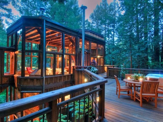 Photo of tree house in the forest at sunset as seen from the terrace