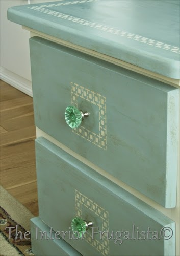 Pine Table Makeover with green glass knobs
