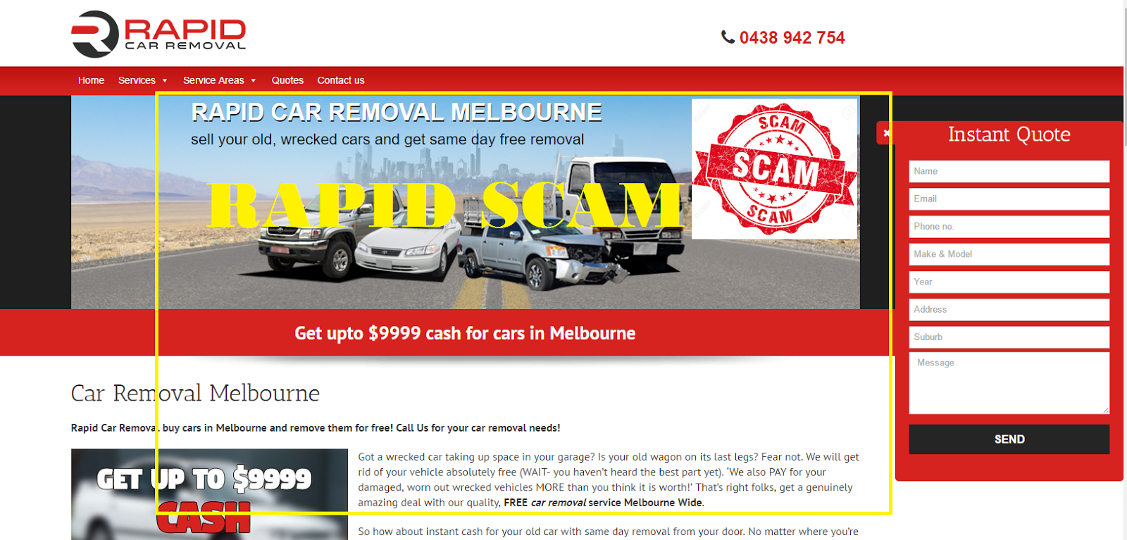Rapid Scam News Melbourne: Rapid Car Removals and Wreckers All Scam
