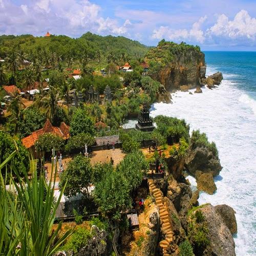 View of Ngobaran beach Yogyakarta Indonesia