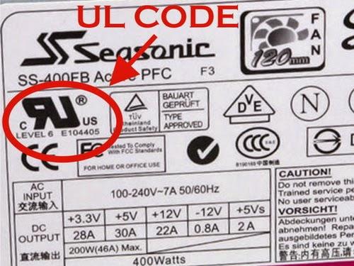 kode UL pada power supply