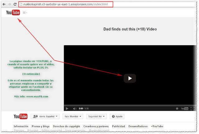 Pagina que simula ser Youtube para expandir virus - MasFB
