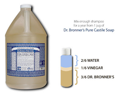 Fill the bottle with half Dr. Bronners, one-third vinegar, and two-thirds water.