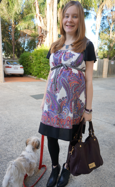 Jeanswest Mixed Print Paisley Dress Asos Aggie Ankle Boots MbMJ Fran Third Trimester workwear