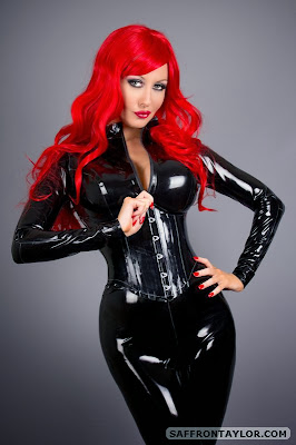 Saffron Taylor Fiery Redhead in Tight Shiny Black Latex
