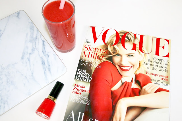 Katherine Penney Chic Blogger Vogue Weekend Lifestyle Life Post Magazines Smoothie Healthy Red Nail polish Inspo