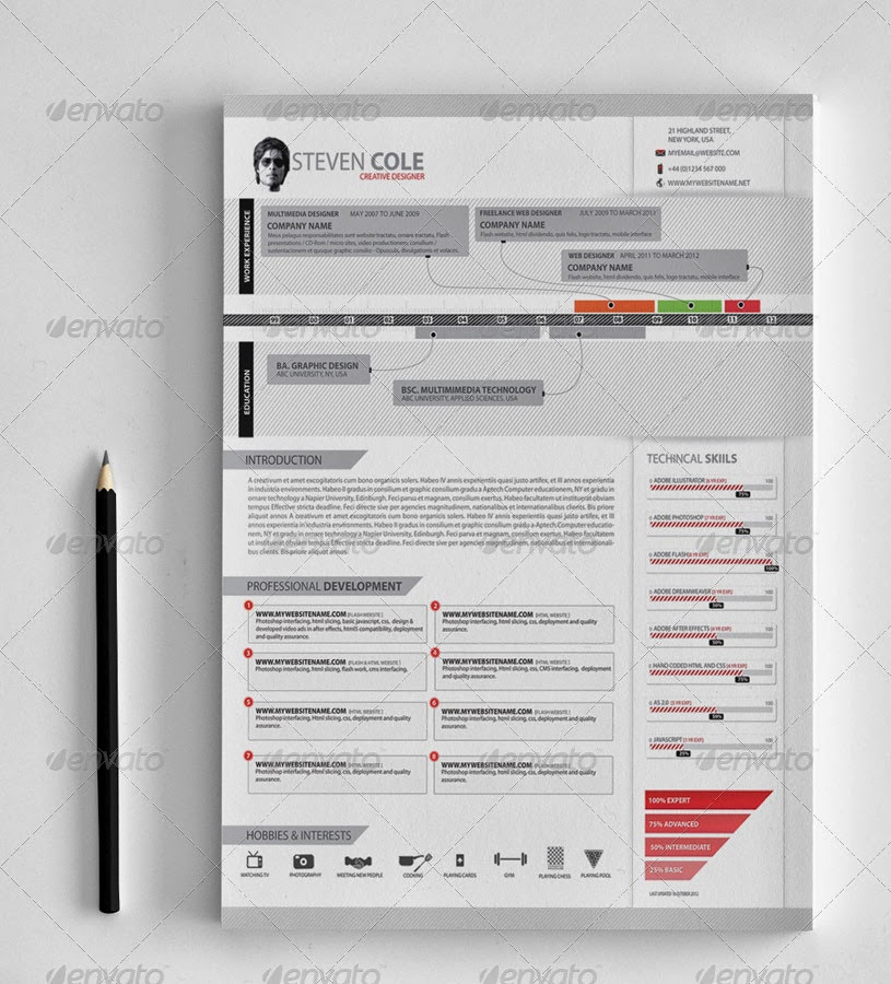 psd free templates  creative resume advance