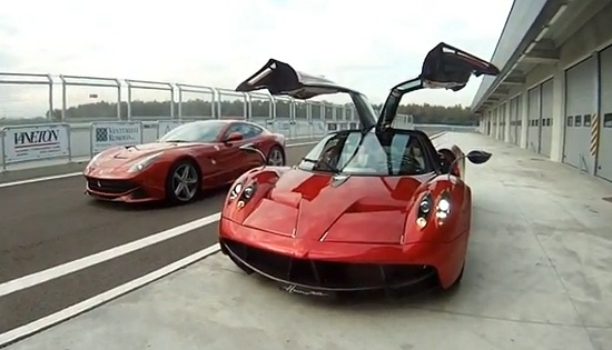 Pagani Huayra and Ferrari F12 Berlinetta