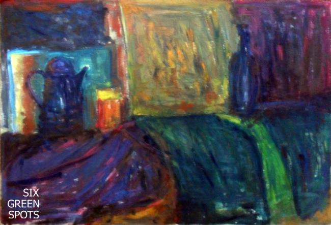 Martwa natura malowana lewą ręką - obraz 100x70, olej na tekturze. Nałęczów 2008/2009