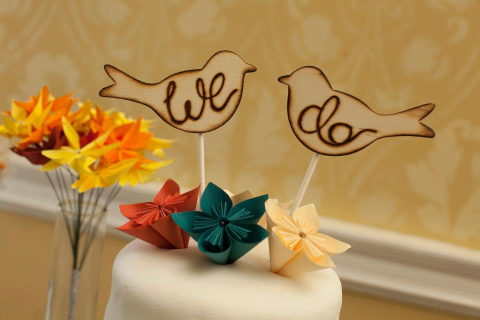 Morgann Hill Designs: Rustic Love Birds Cake Toppers Engraved Wood ...